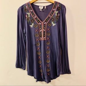 Periwinkle Embroidered Tunic Top NWT